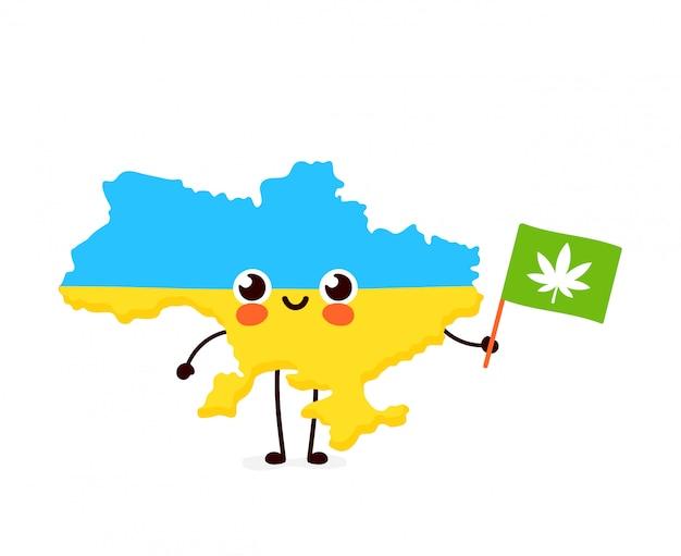 Симпатичные смешные улыбающиеся счастливые каваи украина карта и флаг персонаж с конопли марихуаны флагом. значок иллюстрации персонажа из мультфильма. марихуана украина марихуана, медицина, концепция отдыха каннабиса Premium векторы