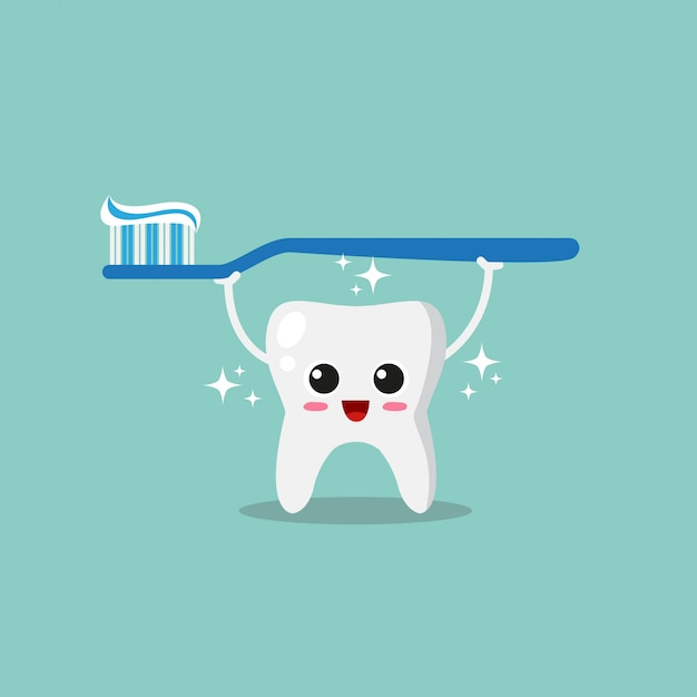Cute and funny tooth Premium Vector