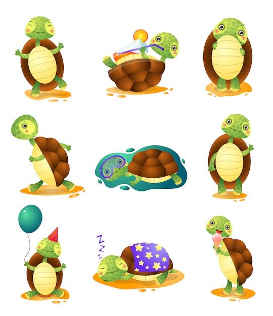 Симпатичные смешные черепахи в разных позах, набор на белом фоне Premium векторы