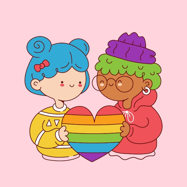 Premium Vector Cute Funny Young Lesbian Girls Hold Rainbow Heart Cartoon Character Illustration Icon Design Isolated On White Background