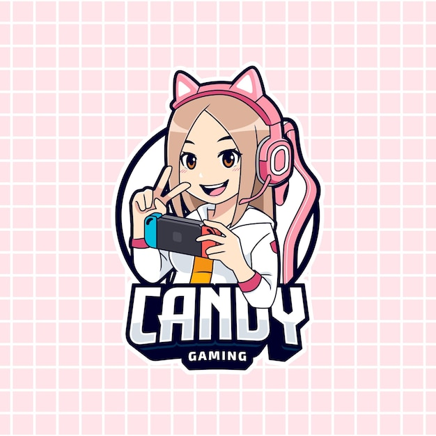 Cute gamer girl playing on portable device logo template Premium Vector