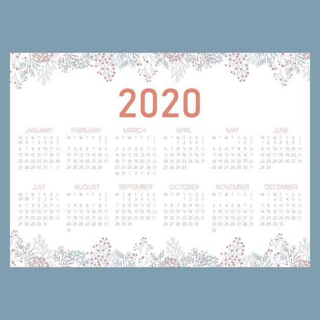 Горизонтальный календарь cute garden 2020 Premium векторы