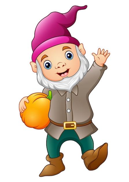 Cute garden gnome with pumpkin | Premium Vector