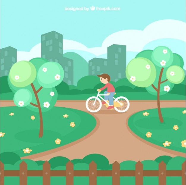 Cute Garden Landscape In Flat Design Free Vector