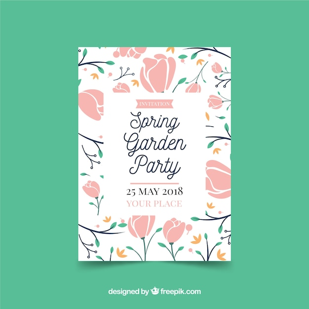 cute garden party invitation template vector free download