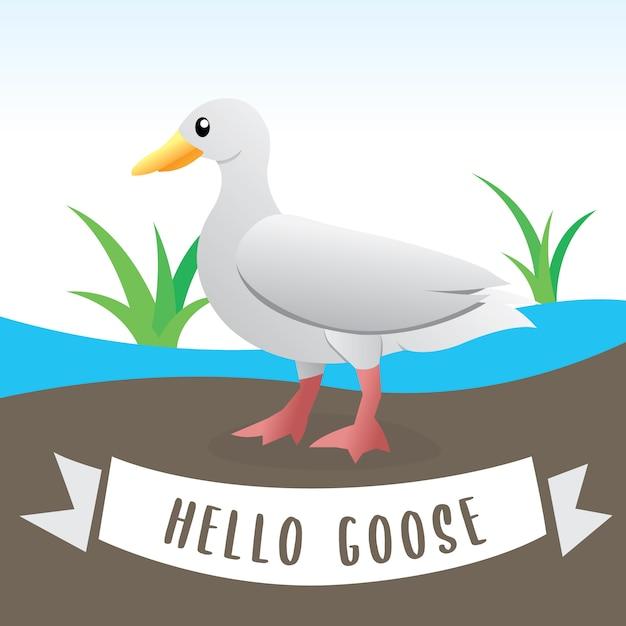 Cute geese, cartoon flat style farm animal. illustration of white domestic goose, funny cartoon goose Premium Vector