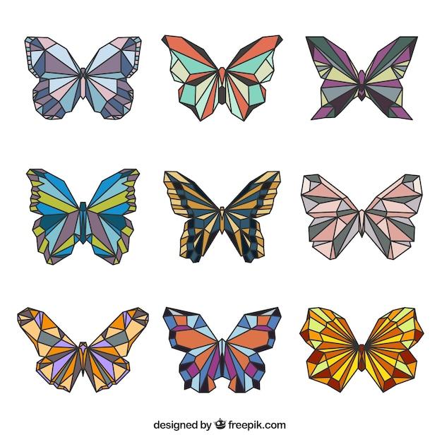 Cute geometric butterflies in colors Free Vector