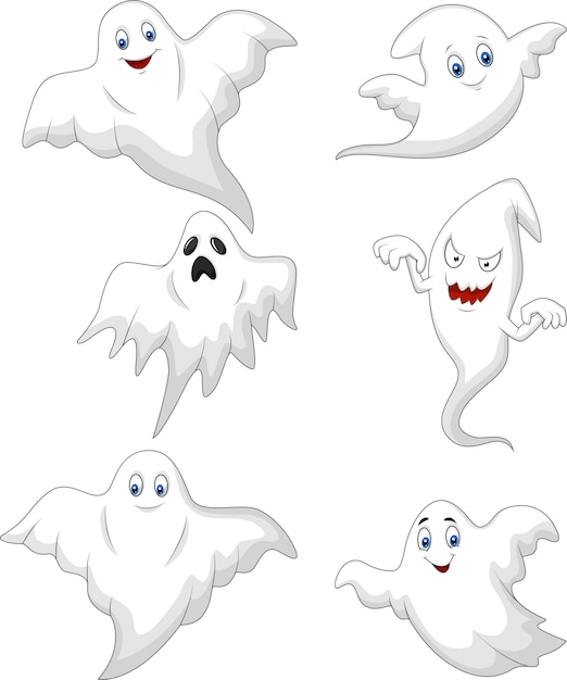 Cute ghost cartoon collection set Premium Vector