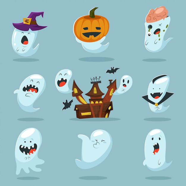 Cute ghost character in costume. Premium Vector