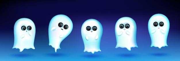 Симпатичный персонаж-призрак с разными эмоциями на синем фоне. векторный набор мультяшного талисмана, белый фантом улыбается, приветствует, грустит и удивлен. креативный набор смайлов, забавный чат-бот духа Бесплатные векторы