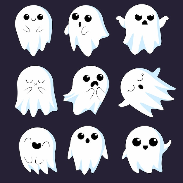 Premium Vector Cute Ghost Collection #mabs drawlloween club #mabsdrawlloweenclub #ghost #space #cute ghost. https www freepik com profile preagreement getstarted 8443736