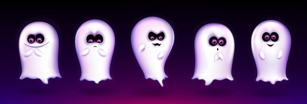 Cute ghost, funny halloween creature express different emotions, spooky spirit emoji smiling, yelling say boo. fantasy monster mascot with lovely kawaii face, realistic 3d vector illustration, set Free Vector