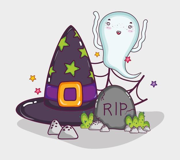Cute ghost halloween cartoon Premium Vector