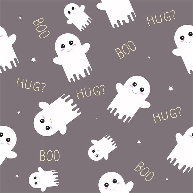 Cute ghost halloween seamless pattern Premium Vector