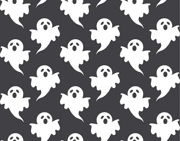 Cute ghost pattern seamless and wallpaper design for halloween day Premium Vector