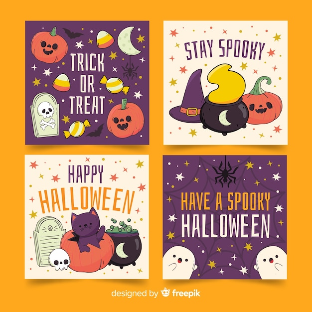 Cute ghost and pumpkins halloween card collection Free Vector