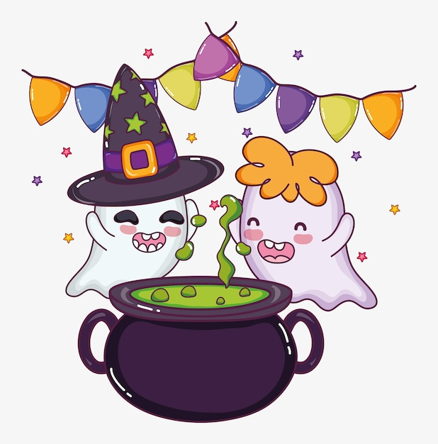Cute ghosts halloween cartoons Premium Vector