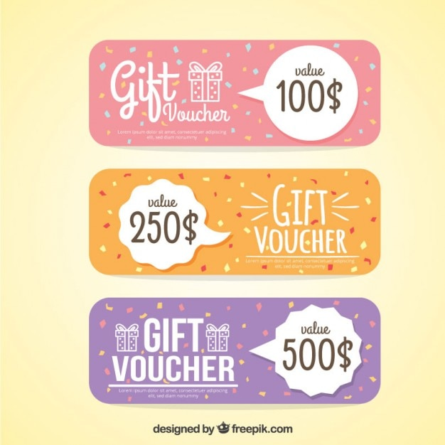 Cute gift vouchers in pastel colors Premium Vector