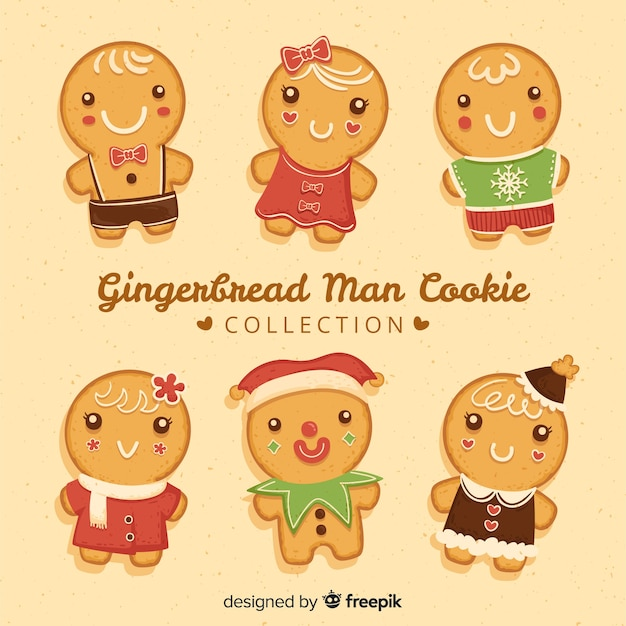 Cute gingerbread cookies collection Free Vector
