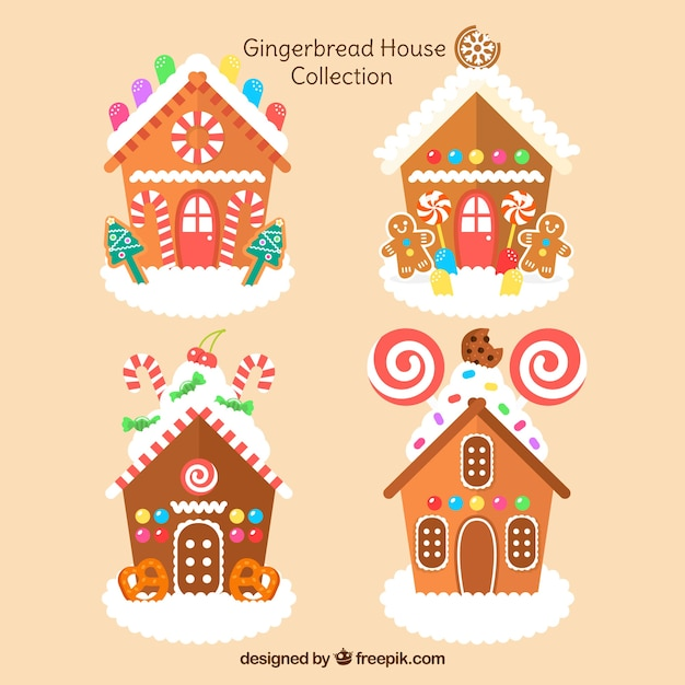 Cute gingerbread house set Vector | Free Download