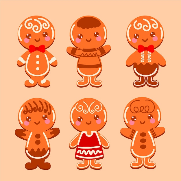 Cute gingerbread man cookie collection Free Vector