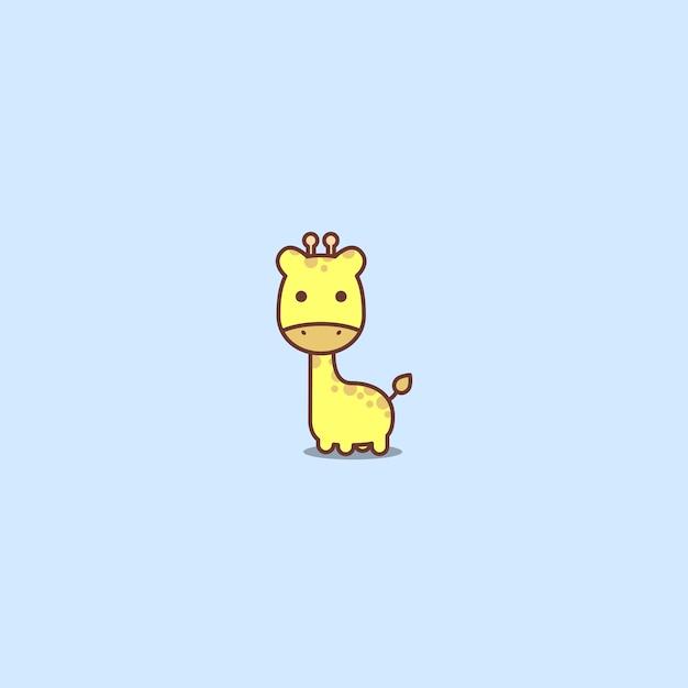 Cute giraffe cartoon icon Premium Vector