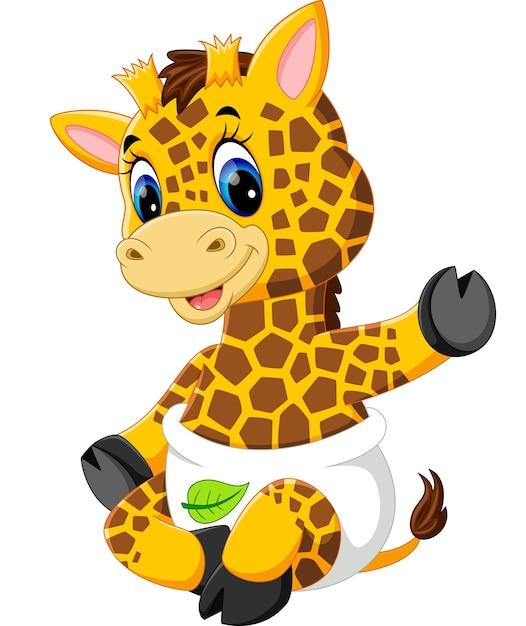 Cute giraffe cartoon Premium Vector
