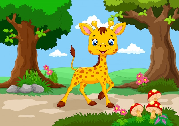 Cute giraffe in the jungle cartoon Premium Vector