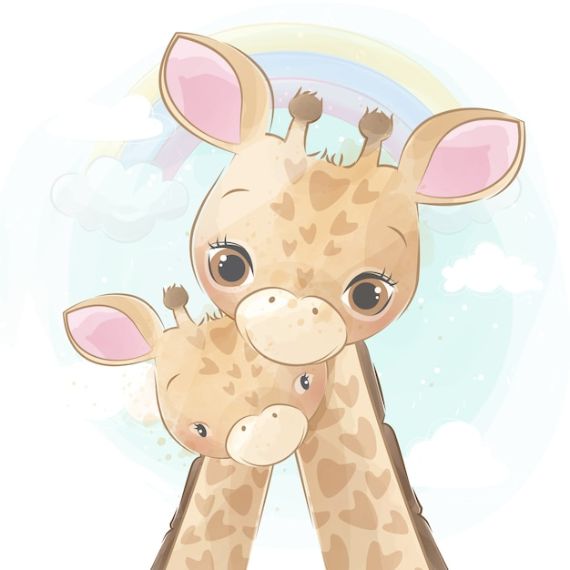 Cute giraffe mother and baby Premium Vector
