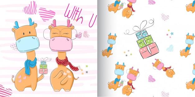 Cute giraffe pattern set, hand draw illustration-vector Premium Vector