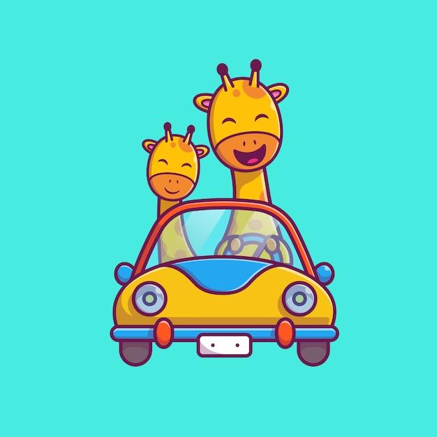 かわいいキリン乗馬車アイコンイラスト。キリンのマスコットの漫画のキャラクター。分離された動物アイコンコンセプト Premiumベクター