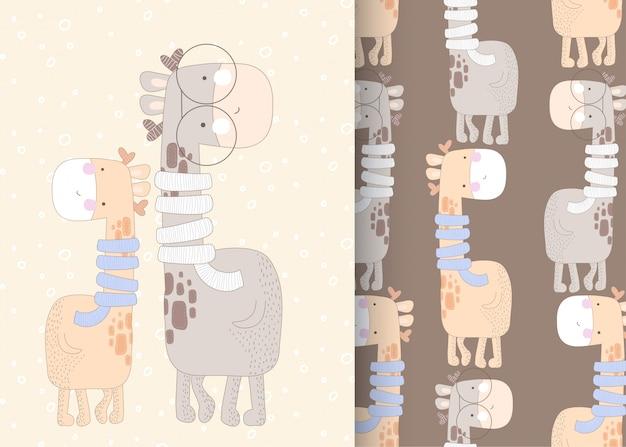 Cute giraffe seamless pattern illustration for kids Premium Vector