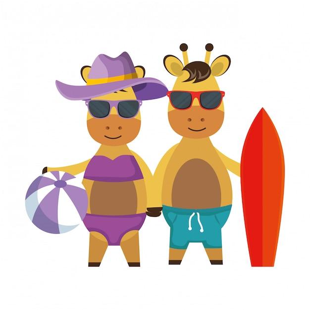 Cute giraffes couple with surfboard and balloon beach Premium Vector