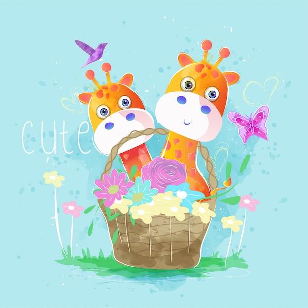 Cute giraffes in the spring basket Premium Vector