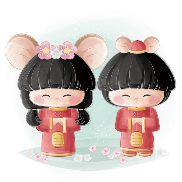 中国の伝統的な衣装でかわいい女の子と男の子 Premiumベクター