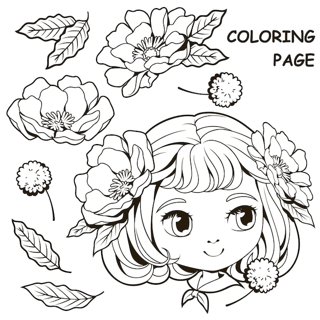 Раскраски милая девушка и цветок Premium векторы