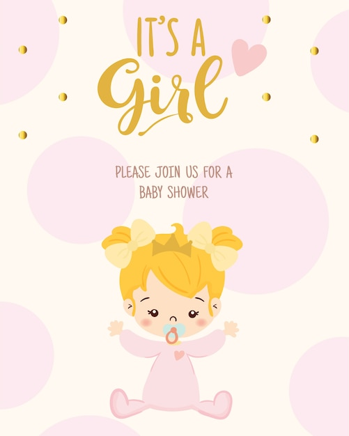 Cute Girl For Baby Shower Invitation Card Design Template