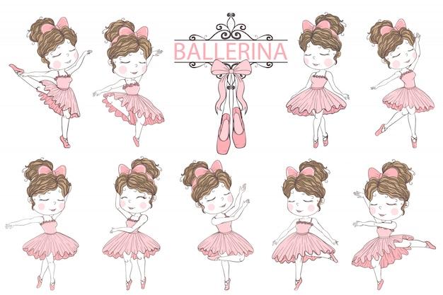 Cute girl ballerina hand drawn illustration clip art elements Premium Vector