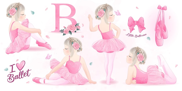 Cute girl ballerina  watercolor illustration set Premium Vector