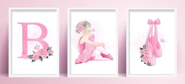 Cute girl ballerina with set watercolor illustration Premium Vector