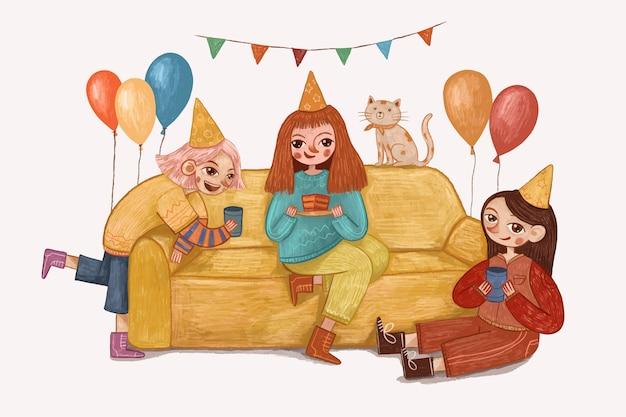 Иллюстрация празднования дня рождения милой девушки Premium векторы