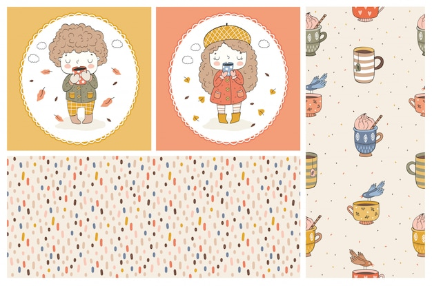 Cute girl and boy cartoon doodle characters. kids cards and seamless   pattern. autumn style. Premium Vector