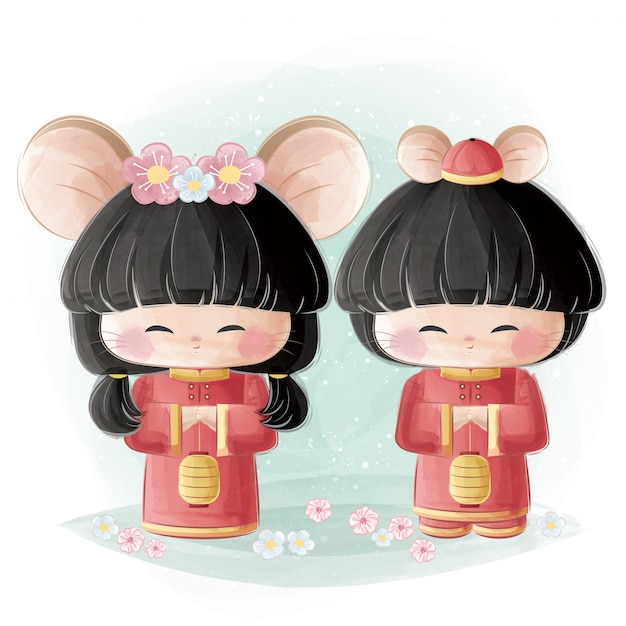 Cute girl and boy in chinese traditional costume Premium Vector