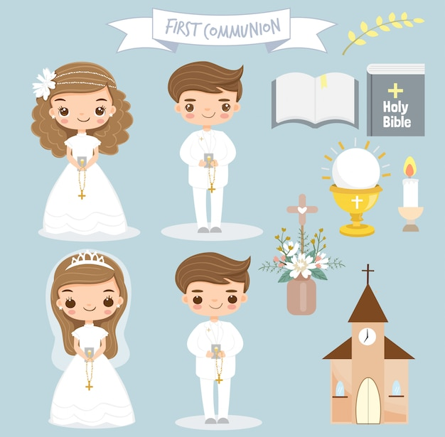 Cute girl and boy making first communion. Premium Vector