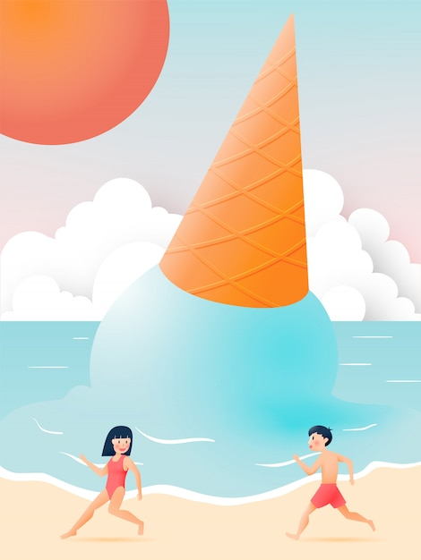 Cute girl and boy with beautiful beach and ice cream illustration Premium Vector