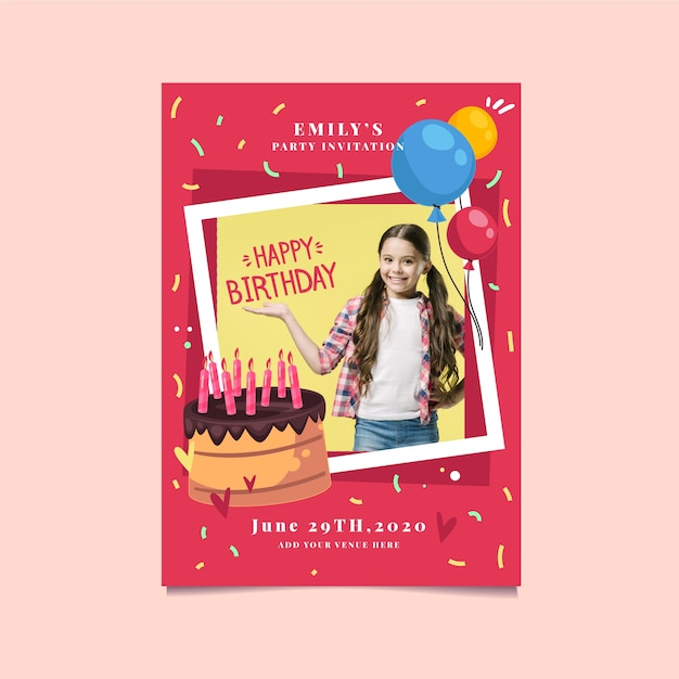 Cute girl and cake birthday invitation Free Vector