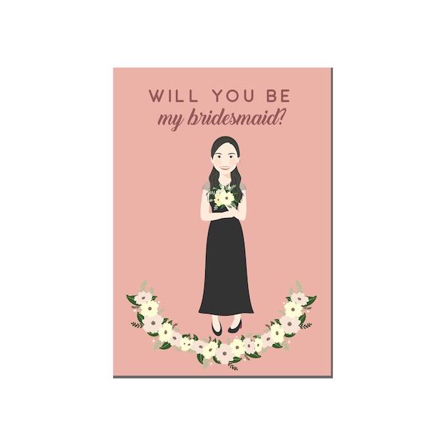 Cute girl cartoon character in black dresses bridesmaid invitation Premium Vector