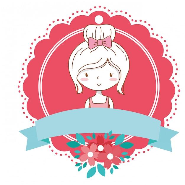 Cute girl cartoon stylish outfit dress portrait floral bloom frame Premium Vector