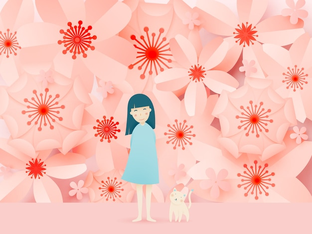 Cute girl and cat with beautiful floral paper art and pastel color scheme Premium Vector