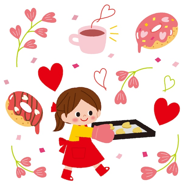 Cute girl character holding tray of sweets Free Vector